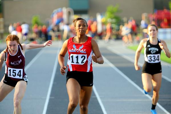 Regional Girls Track on May 22, 2018. <br /> Kokomo's Tionna Brown running the 100 meter finals.<br /> Tim Bath | Kokomo Tribune