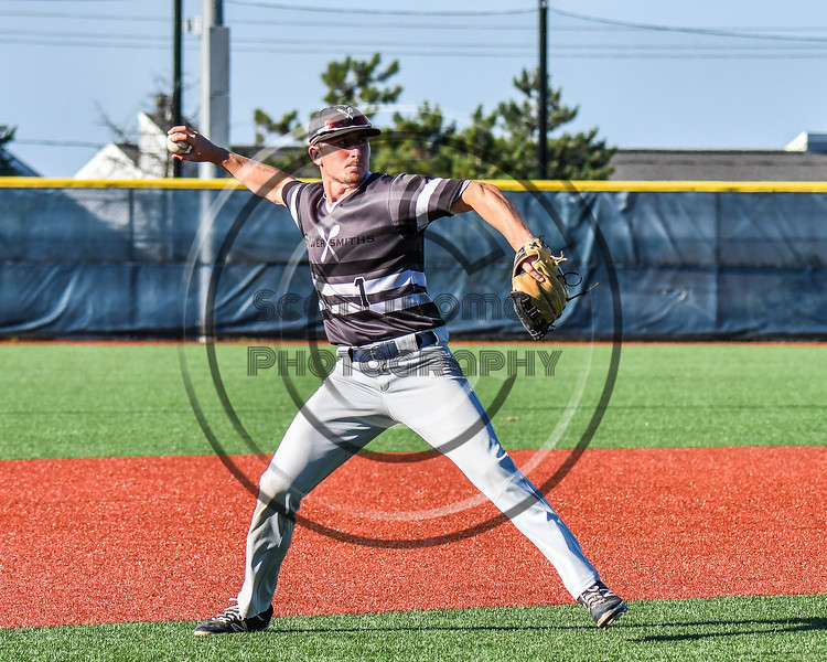 Sherrill Silversmiths Sean Doherty (1) warming up for the New York Collegiate Baseball League (NYCBL)/Atlantic Collegiate Baseball League (ACBL) All-Star Game at the Onondaga Community College Turf Field in Syracuse, New York on Monday, July 9, 2018.
