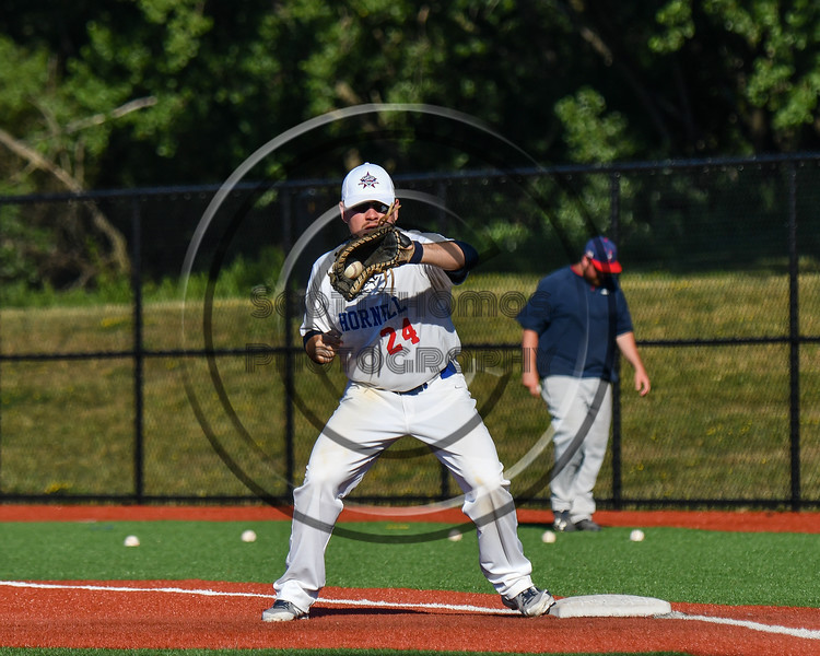 Hornell Dodgers Kyler Kent (24) warming up for the New York Collegiate Baseball League (NYCBL)/Atlantic Collegiate Baseball League (ACBL) All-Star Game at the Onondaga Community College Turf Field in Syracuse, New York on Monday, July 9, 2018.