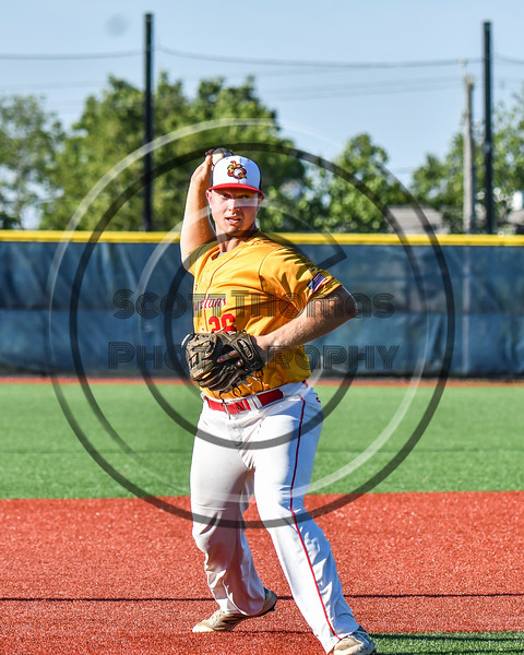 Syracuse Spartans Lou Miceli (26) warming up for the New York Collegiate Baseball League (NYCBL)/Atlantic Collegiate Baseball League (ACBL) All-Star Game at the Onondaga Community College Turf Field in Syracuse, New York on Monday, July 9, 2018.
