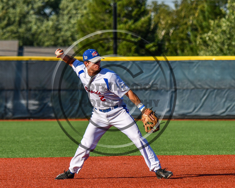 Genesee Rapids Dylan McDermon (2) warming up for the New York Collegiate Baseball League (NYCBL)/Atlantic Collegiate Baseball League (ACBL) All-Star Game at the Onondaga Community College Turf Field in Syracuse, New York on Monday, July 9, 2018.