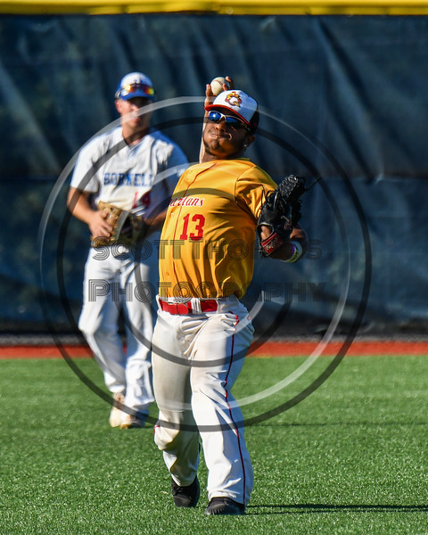 Syracuse Spartans John Mesagno (13) warming up for the New York Collegiate Baseball League (NYCBL)/Atlantic Collegiate Baseball League (ACBL) All-Star Game at the Onondaga Community College Turf Field in Syracuse, New York on Monday, July 9, 2018.