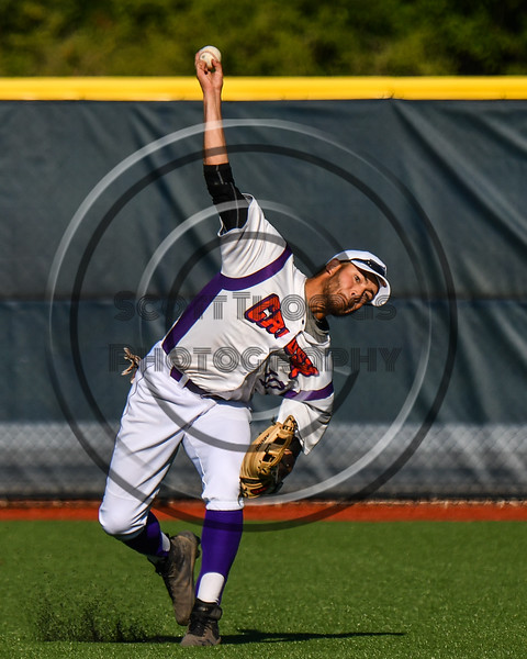 Cortland Crush Nelson Laviosa (10) warming up for the New York Collegiate Baseball League (NYCBL)/Atlantic Collegiate Baseball League (ACBL) All-Star Game at the Onondaga Community College Turf Field in Syracuse, New York on Monday, July 9, 2018.