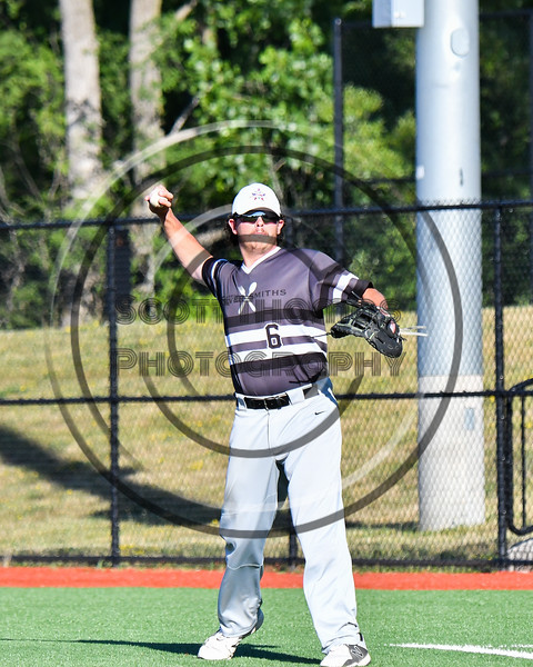 Sherrill Silversmiths Chris Turco (6) warming up for the New York Collegiate Baseball League (NYCBL)/Atlantic Collegiate Baseball League (ACBL) All-Star Game at the Onondaga Community College Turf Field in Syracuse, New York on Monday, July 9, 2018.
