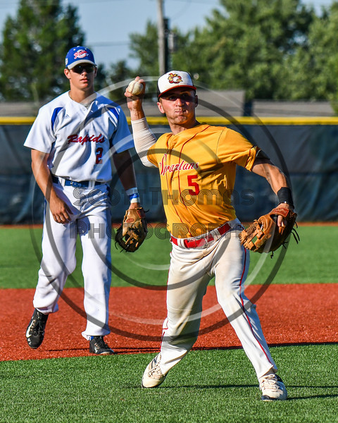 Syracuse Spartans Andrew Pedone (5) warming up for the New York Collegiate Baseball League (NYCBL)/Atlantic Collegiate Baseball League (ACBL) All-Star Game at the Onondaga Community College Turf Field in Syracuse, New York on Monday, July 9, 2018.