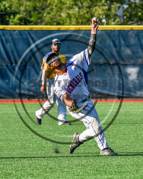 Rome Generals Stephen Peters (23) warming up for the New York Collegiate Baseball League (NYCBL)/Atlantic Collegiate Baseball League (ACBL) All-Star Game at the Onondaga Community College Turf Field in Syracuse, New York on Monday, July 9, 2018.