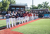ACBL team standing for the National Anthem before the New York Collegiate Baseball League (NYCBL)/Atlantic Collegiate Baseball League (ACBL) All-Star Game at the Onondaga Community College Turf Field on Monday, July 9, 2018.