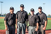 Officiating team for the New York Collegiate Baseball League (NYCBL)/Atlantic Collegiate Baseball League (ACBL) All-Star Game at the Onondaga Community College Turf Field on Monday, July 9, 2018.