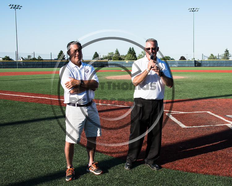 NYCBL Commissior Head Coach Bill McConnell (left) being introduced to the New York Collegiate Baseball League (NYCBL) and Atlantic Collegiate Baseball League (ACBL) All-Star Game fans at the Onondaga Community College Turf Field on Monday, July 9, 2018.