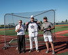 Lucas J. Teter, owner of the YellowJacket Bat Co., presents a bat to North Jersey Eagles Jacob Buser (21) as the winner of the Home Run Derby at the New York Collegiate Baseball League (NYCBL)/Atlantic Collegiate Baseball League (ACBL) All-Star Game at the Onondaga Community College Turf Field on Monday, July 9, 2018.