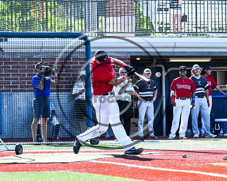 Rochester Ridgemen Jordan Stubbings (22) participating in the Home Run Derby at the New York Collegiate Baseball League (NYCBL)/Atlantic Collegiate Baseball League (ACBL) All-Star Game on the Onondaga Community College Turf Field in Syracuse, New York on Monday, July 9, 2018.