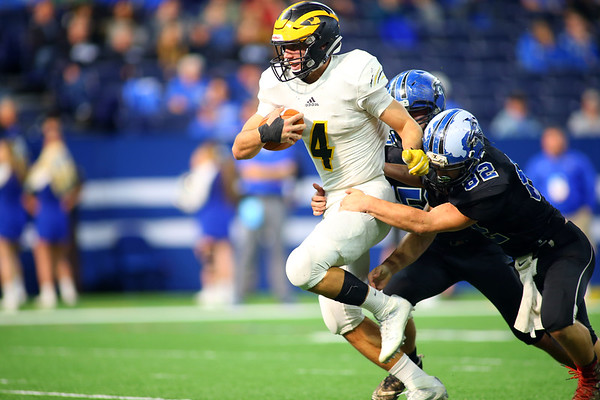 Jack Kiser just keeps running with Dalton Thomas holding on as Pioneer beats North Vermillion in the Class A State Finals 60-0 on Nov. 24, 2018 at Lucas Oil Stadium.<br /> Tim Bath | Kokomo Tribune