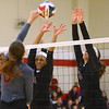 11-17-18<br /> IUK vs Saint Xavier volleyball<br /> Nyssa Baker and McKenna Lundy go up for a block.<br /> Kelly Lafferty Gerber | Kokomo Tribune