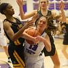 11-10-18<br /> Northwestern vs Carmel girls basketball<br /> Sarah Heaver looks for a pass around Carmel's defense.<br /> Kelly Lafferty Gerber | Kokomo Tribune