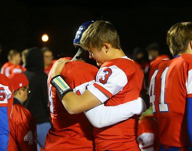 11-2-18 Kokomo vs Harrison sectional championship Levi Hrabos sheds some tears as he hugs teammate Jason Spear after the game. Kelly Lafferty Gerber   Kokomo Tribune