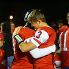 11-2-18<br /> Kokomo vs Harrison sectional championship<br /> Levi Hrabos sheds some tears as he hugs teammate Jason Spear after the game.<br /> Kelly Lafferty Gerber | Kokomo Tribune