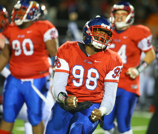 11-2-18<br /> Kokomo vs Harrison sectional championship<br /> Jeremiah Neal celebrates after a big tackle.<br /> Kelly Lafferty Gerber