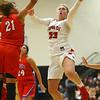 11-7-18<br /> Taylor vs Kokomo girls basketball<br /> Taylor's Taylor Boruff puts up a shot.<br /> Kelly Lafferty Gerber | Kokomo Tribune