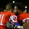 11-2-18<br /> Kokomo vs Harrison sectional championship<br /> Javias Gray sheds a tear as he hugs teammate Ethan Guire after the game.<br /> Kelly Lafferty Gerber | Kokomo Tribune