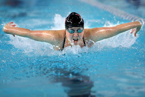 Western's Emma Shoemaker swimming in the medley relay during the swim meet between KHS and WHS girls on Nov. 13, 2018.  Tim Bath   Kokomo Tribune