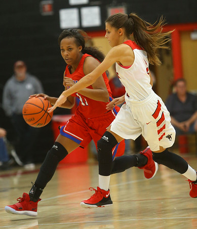 11-7-18<br /> Taylor vs Kokomo girls basketball<br /> Kokomo's Tionna Brown runs down the court.<br /> Kelly Lafferty Gerber | Kokomo Tribune