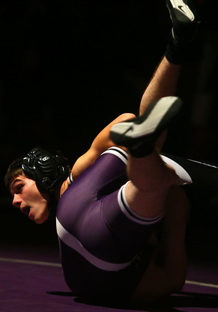 11-28-18<br /> Western vs Northwestern wrestling<br /> Western's Anthony Martin takes down NW's Dylan Dean in the 106.<br /> Kelly Lafferty Gerber | Kokomo Tribune