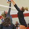 11-17-18<br /> IUK vs Saint Xavier volleyball<br /> Erinn Adam puts up a block.<br /> Kelly Lafferty Gerber | Kokomo Tribune