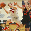 11-27-18<br /> Taylor vs Lewis Cass boys basketball<br /> Taylor's Cash Kelley-Smalley shoots.<br /> Kelly Lafferty Gerber | Kokomo Tribune