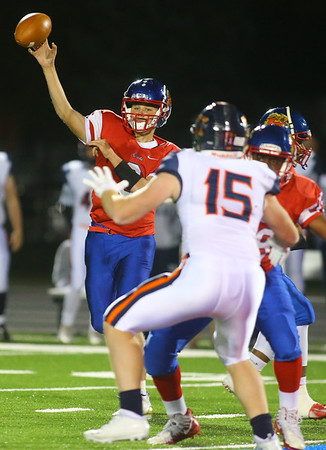 11-2-18<br /> Kokomo vs Harrison sectional championship<br /> Levi Hrabos throws a pass.<br /> Kelly Lafferty Gerber | Kokomo Tribune