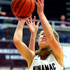Jillian Brumm shoots another 2 pointer from under the basket during girls basketball between Winamac HS and Cass HS on Nov. 10, 2018. <br /> Tim Bath | Pharos Tribune
