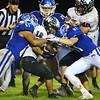 10-5-18<br /> Tipton vs Western football<br /> Tipton's Jayvin Lyons (61) and Luke Stoker (81) takes down Western's Josh Coleman.<br /> Kelly Lafferty Gerber | Kokomo Tribune