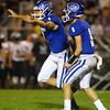 10-5-18<br /> Tipton vs Western football<br /> Tipton's Nathan Slack celebrates after kicking the game winning field goal.<br /> Kelly Lafferty Gerber | Kokomo Tribune