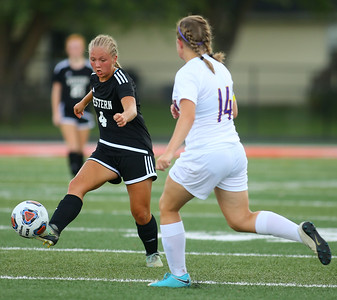 10-6-18 Western vs Marion girls soccer sectional championship Western's Faith Lytle goes after the ball. Kelly Lafferty Gerber | Kokomo Tribune