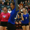 10-11-18<br /> Eastern vs Tipton volleyball<br /> Tipton's Claire Norred, left, and Carly Ripberger, along with Cassidy Crawford in the foreground celebrate after a point.<br /> Kelly Lafferty Gerber | Kokomo Tribune