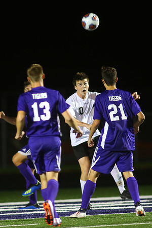 Western HS boys soccer team defeated Northwestern's 2-1 during the sectional final on Oct. 6, 2018. Max Harbaugh sends the first goal in, to tie the game.<br /> Tim Bath   Kokomo Tribune