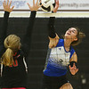 10-20-18<br /> Tipton vs Clinton Prairie regional volleyball semi-final<br /> Tipton's Rachael Ressler goes for a kill.<br /> Kelly Lafferty Gerber | Kokomo Tribune