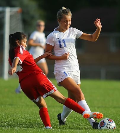 10-4-18<br /> Kokomo vs Logansport girls soccer<br /> Kokomo's Nicole Brudette and Logansport's Linney Fragoso.<br /> Kelly Lafferty Gerber | Kokomo Tribune