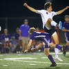 Western HS boys soccer team defeated Northwestern's 2-1 during the sectional final on Oct. 6, 2018. Jack Hale and Nathan Tuchscherer going after a header.<br /> Tim Bath | Kokomo Tribune