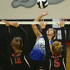 10-20-18<br /> Tipton vs Clinton Prairie regional volleyball semi-final<br /> Tipton's Cassidy Crawford goes for a kill.<br /> Kelly Lafferty Gerber | Kokomo Tribune