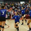 10-11-18<br /> Eastern vs Tipton volleyball<br /> Tipton's Carly Ripberger (center) and the team celebrate after a point.<br /> Kelly Lafferty Gerber | Kokomo Tribune