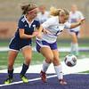 10-2-18<br /> Northwestern vs Lafayette Central Catholic girls soccer sectional<br /> NW's Mariah Clark tries to keep the ball away from LCC's Madisyn Schultz.<br /> Kelly Lafferty Gerber | Kokomo Tribune