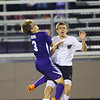 Western HS boys soccer team defeated Northwestern's 2-1 during the sectional final on Oct. 6, 2018. Northwestern's Elijah Collins and Western's Noah Stranahan collide with Collins getting a yellow card.<br /> Tim Bath | Kokomo Tribune