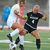 10-6-18<br /> Western vs Marion girls soccer sectional championship<br /> Western's Faith Lytle works to get control of the ball over Marion's Kathryn Erickson.<br /> Kelly Lafferty Gerber | Kokomo Tribune