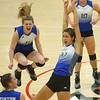 10-20-18<br /> Tipton vs Clinton Prairie regional volleyball semi-final<br /> Kelsey Mitchell, left, and Cassidy Crawford celebrate after a point.<br /> Kelly Lafferty Gerber | Kokomo Tribune