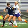 10-2-18<br /> Northwestern vs Lafayette Central Catholic girls soccer sectional<br /> LCC's Emma Bullock, left, and NW's Oliva Hale.<br /> Kelly Lafferty Gerber | Kokomo Tribune