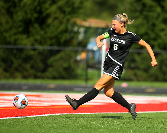 10-6-18<br /> Western vs Marion girls soccer sectional championship<br /> Western's Sophie Weigt goes for a goal.<br /> Kelly Lafferty Gerber | Kokomo Tribune