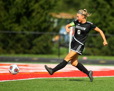 10-6-18 Western vs Marion girls soccer sectional championship Western's Sophie Weigt goes for a goal. Kelly Lafferty Gerber | Kokomo Tribune
