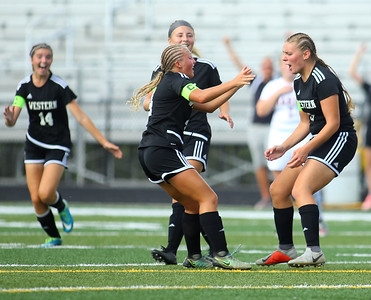 10-6-18 Western vs Marion girls soccer sectional championship Western's Samantha Garber (right) runs to Faith Lytle in celebration after Garber scores the fourth goal for the Panthers. Kelly Lafferty Gerber | Kokomo Tribune