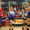 10-20-18<br /> Tipton vs Clinton Prairie regional volleyball semi-final<br /> Kelsey Mitchell (11) celebrates with teammates after a point.<br /> Kelly Lafferty Gerber | Kokomo Tribune