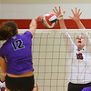 10-30-18<br /> IUK volleyball<br /> Molly Ottersbach puts up a block.<br /> Kelly Lafferty Gerber | Kokomo Tribune